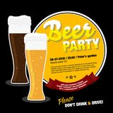 Beer party invitation with glasses of beer Stock Photo