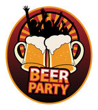 Beer Party label Stock Image