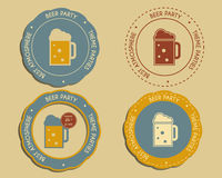 Beer party logo and badge templates with glass of Stock Images