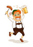 Beer party man. With sausage and beer vector illustration Royalty Free Stock Image