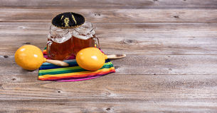 Beer with party objects on rustic wooden table Stock Photo