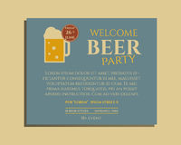Beer party poster invitation template with glass vector illustration