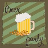 Beer party. Retro illustration of beer free label, beer poster, vector illustration on green , striped background. Stock Photos