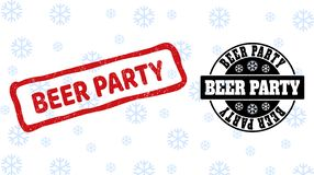 Beer Party Scratched and Clean Stamp Seals for Xmas royalty free illustration