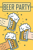Beer party. Thin line flat design banner. Three hands holding beer glasses. Vector Stock Photo