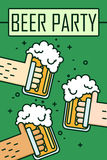 Beer party. Thin line flat design. Three hands holding beer glasses. Vector Stock Images