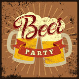 Beer Party vintage style grunge poster. Calligraphic label with the beer mugs. Retro vector illustration. Royalty Free Stock Image