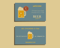 Beer party visiting card template with glass of Royalty Free Stock Photo