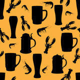 Beer pattern. Food seamless backbround. Beer mug pattern. Snack food seamless wallpaper Stock Photography