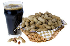 Beer and peanuts Stock Images