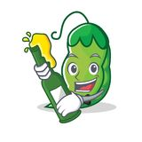 With beer peas mascot cartoon style. Vector illustration Stock Image