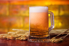 Beer pint. With blurred golden background. Shot in traditional pub stock photos