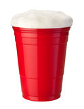 Beer in Plastic Cup isolated. Beer in a Red Plastic Cup isolated on white. Isolation is on a transparent layer in the PNG format stock photography