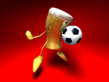 Beer playing football Royalty Free Stock Photography