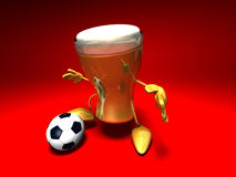 Beer playing football Stock Photos