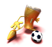 Beer playing football Royalty Free Stock Photo