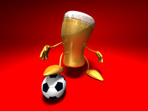 Beer playing football. (soccer), 3d generated Royalty Free Stock Photography