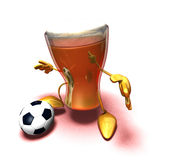 Beer playing football Royalty Free Stock Photos
