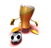 Beer playing football. (soccer), 3d generated Stock Photo