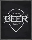 Beer point lettering poster. Pub emblem on chalkboard background. Vector vintage illustration. Stock Photos
