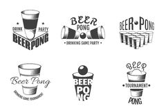 Beer pong labels. Party badges vector Royalty Free Stock Images