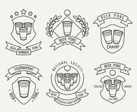 Beer pong line logo set Stock Image
