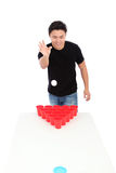 Beer pong player Royalty Free Stock Photos