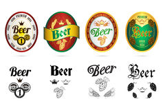 Beer popular brands labels icons set Stock Image