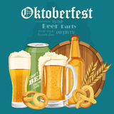 Beer poster. Beer mugs with foam, bottle, wheet, leaves. Oktoberfest Stock Images