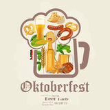 Beer poster. Beer mugs with foam, bottle, wheet, leaves. Oktoberfest Stock Images