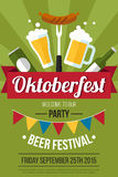 Beer poster. Colorful  oktoberfest beer festival poster or flyer template. Flat style Royalty Free Stock Images