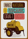 Beer poster in retro style with an iron barrel of beer on wheels. Vector illustration. Beer poster in retro style with an iron barrel of beer on wheels stock illustration