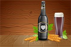 Beer poster template with realistic dark beer bottle, glass beaker, malt and hops on wood background. Vector Royalty Free Stock Image