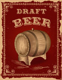 Beer poster with a wooden barrel Stock Photo
