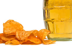 Beer and potato chips Royalty Free Stock Photography