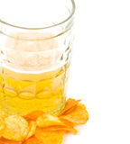 Beer and potato chips isolated Stock Photography