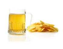 Beer and potato chips Stock Photography