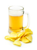 Beer and potato crisps Stock Image