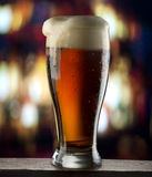 Beer pour. Beer glass with drops on dark background with bar lights Royalty Free Stock Photos