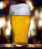 Beer pour. Beer glass with drops on dark background with bar lights Stock Photo