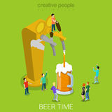 Beer pour machine pouring glass flat isometric vector 3d. Beer pour machine flat 3d isometry isometric concept web vector illustration. Micro people pouring beer Royalty Free Stock Photography