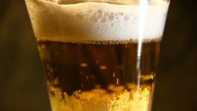 Beer poured into a glass with bubble. Closeup stock video