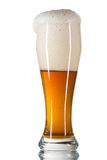 Beer poured into a glass. On a white background Royalty Free Stock Image