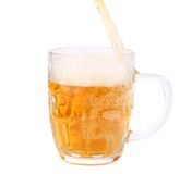 Beer pouring into beer mug Stock Photos