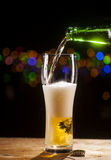 Beer is pouring into glass on bar lights background Royalty Free Stock Photography