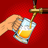 Beer pours into glass from beer tap pop art vector Stock Photos