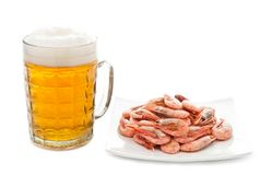 Beer and prawns Royalty Free Stock Photo
