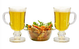 Beer and prawns. Royalty Free Stock Photo