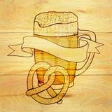 Beer and pretzel background Stock Image