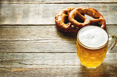 Beer and pretzel Royalty Free Stock Image